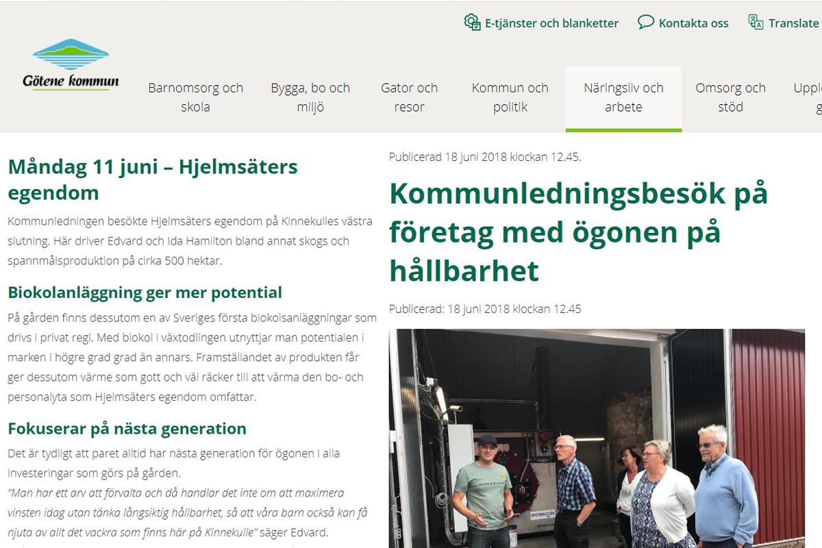 Götenes kommunledning på besök | Biokol.se